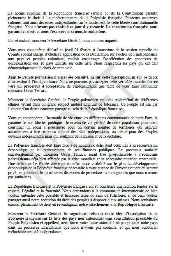 Courrier à l'ONU: A Ti'a Porinetia veut réunir les partis autonomistes