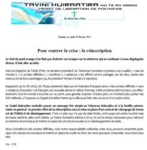 """Communiqué du Tavini: """"pour contrer la crise: la réinscription"""""""