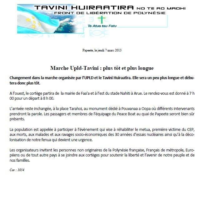 """Communiqué UPLD-Tavini: """"Marche Upld-Tavini : plus tôt et plus longue"""""""