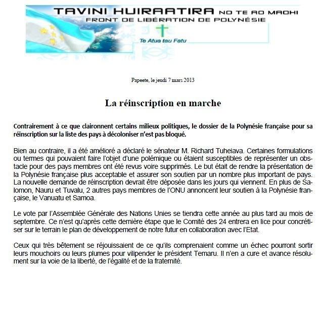 """Communiqué du Tavini: """"La réinscription en marche"""""""