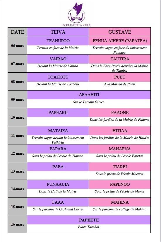 Communiqué: Le planning du tour de l'île organisé par Porinetia ora et le Here Ai'a
