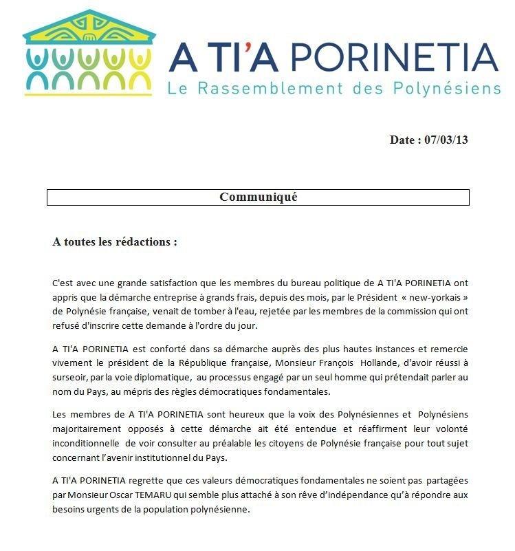 "Communiqué de A Tia Porinetia: ""ONU non inscription"""