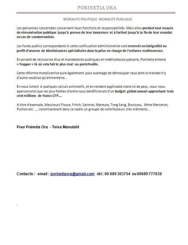 """Communiqué de Teiva Manutahi: """"Moralité publique"""""""