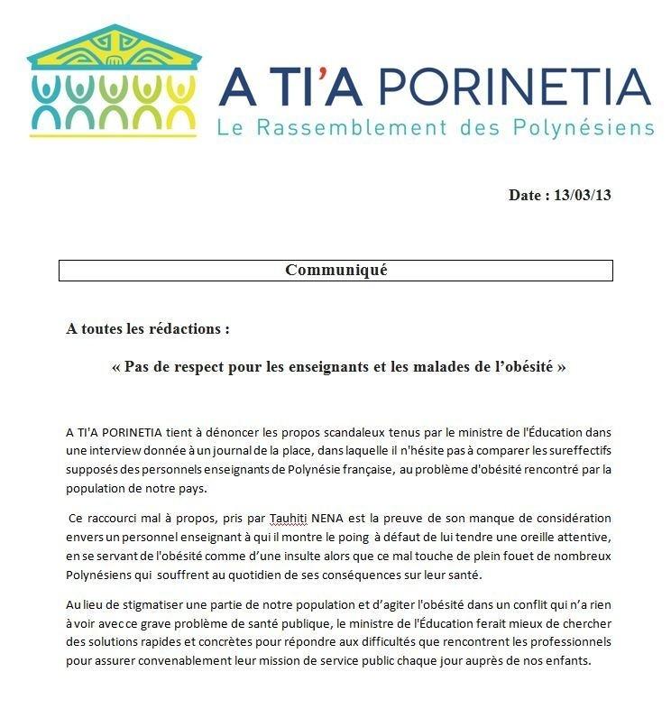 Communiqué de A Tia Porinetia: Tauiti Nena: « Pas de respect pour les enseignants et les malades de l'obésité »