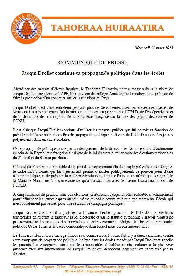 "Communiqué du Tahoeraa: ""Jacqui Drollet continue sa propagande dans les écoles"""