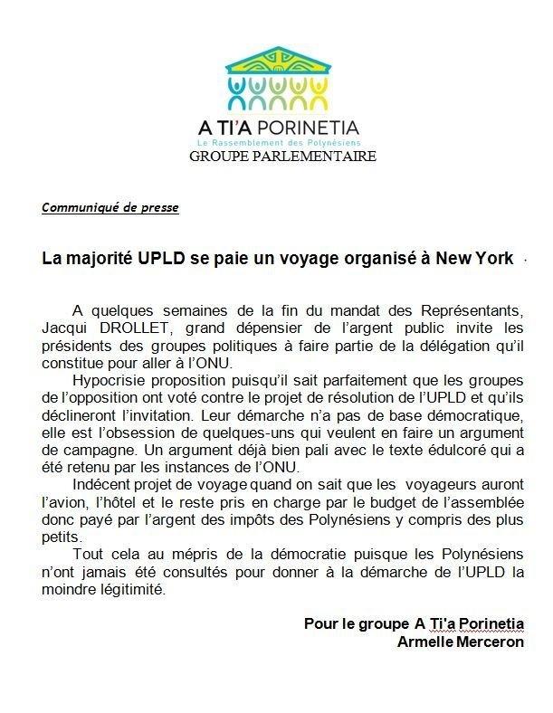 """Communiqué de A Tia Porinetia: """"La majorité UPLD se paie un voyage organisé à New York"""""""