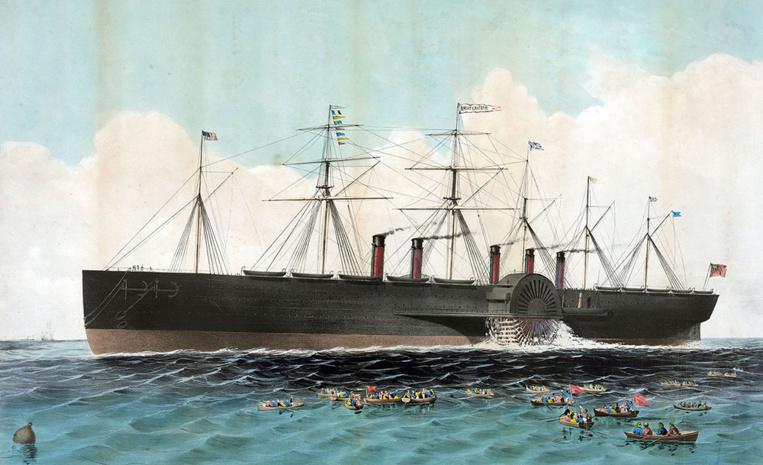 Le Great Eastern, à l'époque plus grand paquebot du monde, que Vine Hall fut chargé d'amener à New-York pour sa traversée inaugurale.