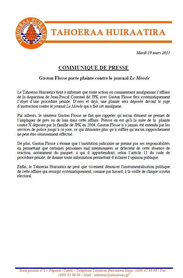 Gaston Flosse porte plainte contre le journal Le Monde