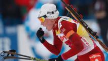 """La biathlète norvégienne Berger """"flashée"""" sur ses skis"""