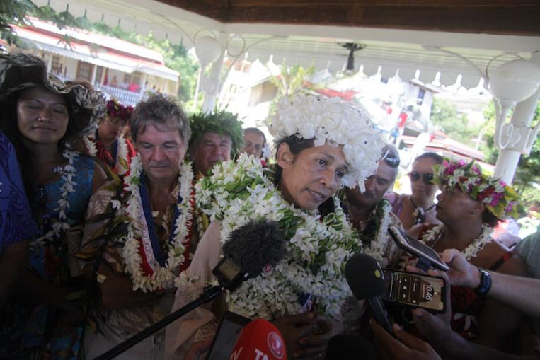 Teura Iriti, lors de sa prise de fonction à la mairie de Arue en juillet dernier.