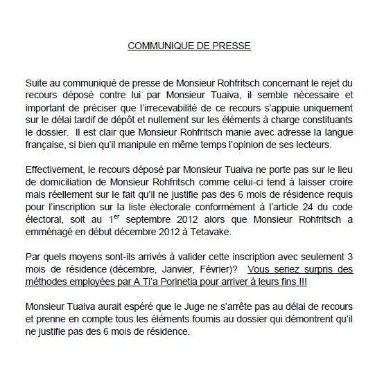 "Communiqué de Jean-Paul Tuaiva: "" Recours Teva R."""