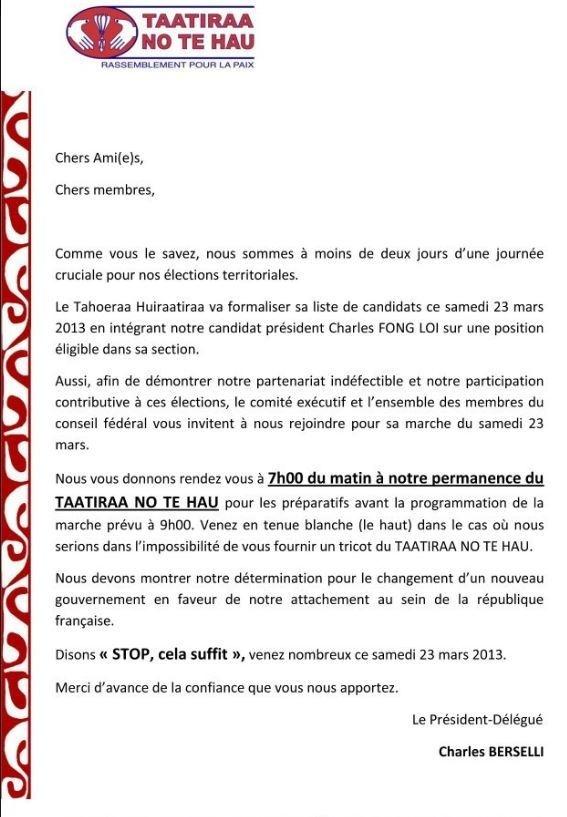 Communiqué: le Taatira No te Hau participera à la marche du Taoheraa Huiraatira