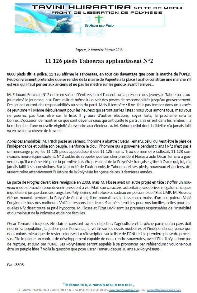 """Communiqué du Tavini: """"11 126 pieds Tahoeraa applaudissent N°2"""""""