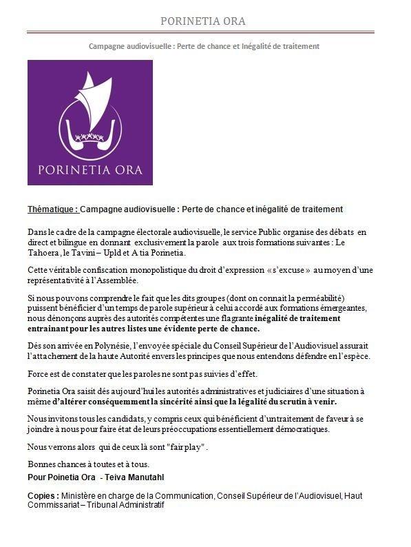 """Communiqué de Porinetia Ora: """"Campagne audiovisuelle : Perte de chance et inégalité de traitement"""""""