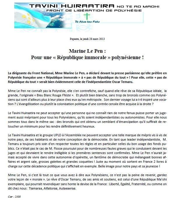 """Communiqué du Tavini: """"Marine Le Pen : Pour une « République immorale » polynésienne !"""""""