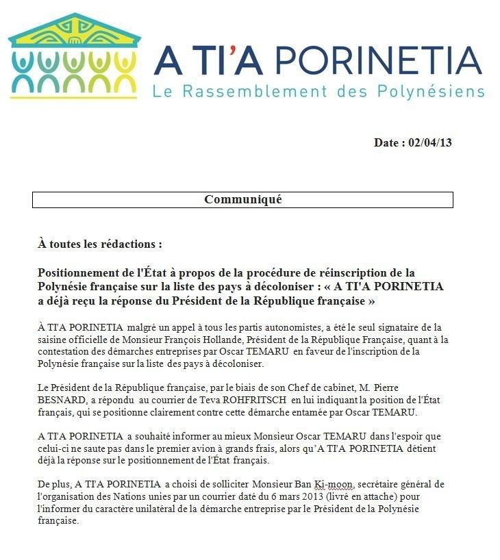 Communiqué de A Tia Porinetia: Positionnement de l'État à propos de la procédure de réinscription de la Polynésie française sur la liste des pays à décoloniser : « A TI'A PORINETIA a déjà reçu la réponse du Président de la République française »