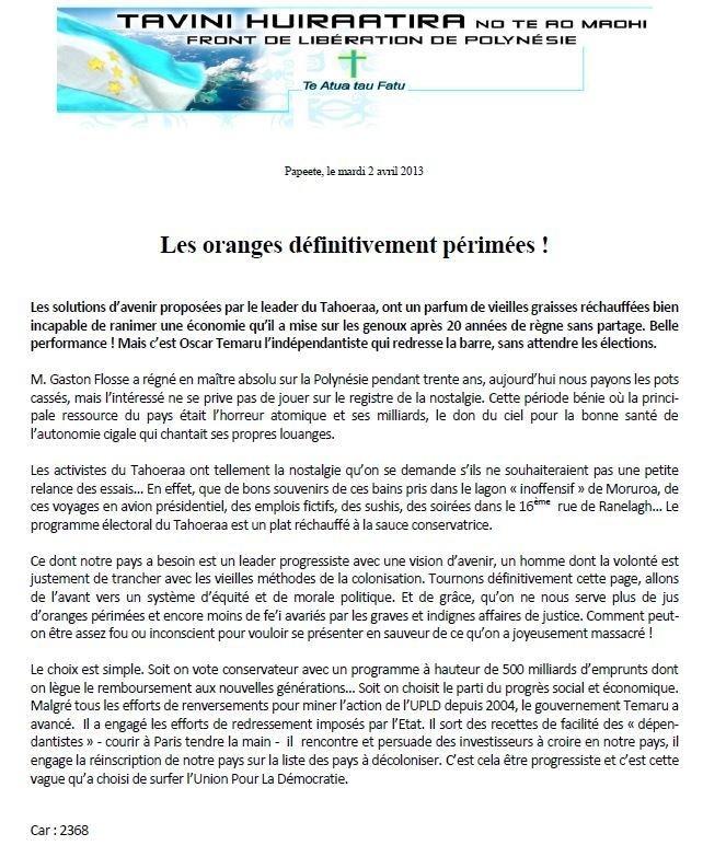 """Communiqué du Tavini: """"les oranges définitivement périmées"""""""