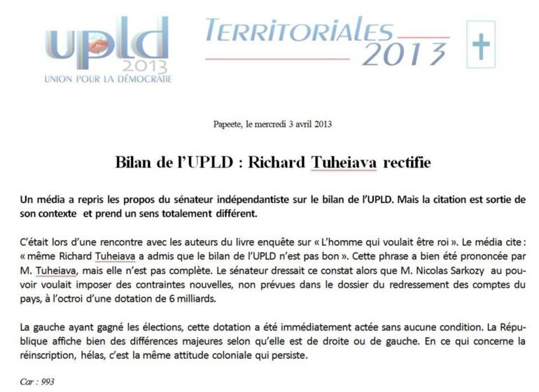 "Communiqué de l'UPLD: ""Bilan de l'UPLD : Richard Tuheiava rectifie"""