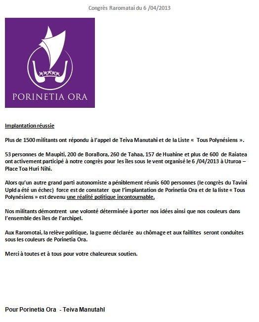 """Communiqué de Porinetia Ora: """"Congré des Raromatai"""""""