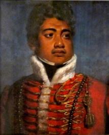 Le roi Kamehameha II (portrait de John Hayter) lorsqu'il parvint au pouvoir régnait mais sous le contrôle étroit de l'une des épouses favorites de Kamehameha I, la régente Ka'ahumanu.