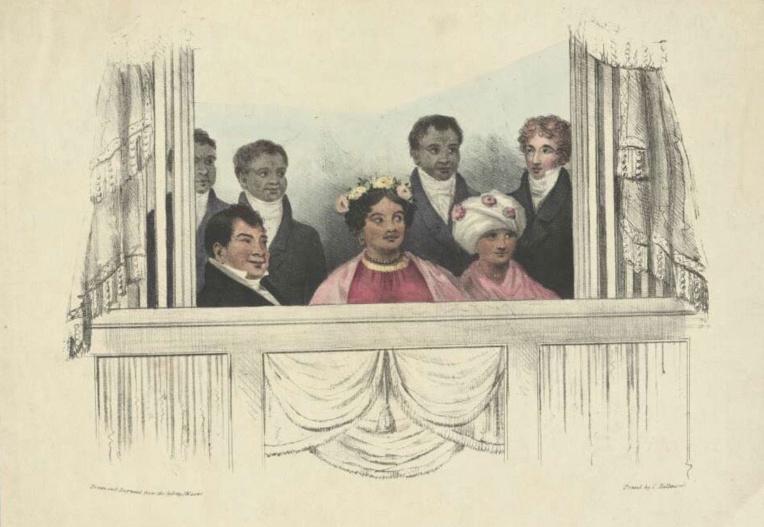 A Londres, le roi (à gauche), la reine (au centre) et sa cour furent invités à de nombreuses manifestations dont des concerts (ici au théâtre royal de Drury Lane, au tout début du mois de juin 1824). A noter que les journaux britanniques se firent un plaisir d'écorcher le nom du couple; sur cette illustration, Kamehameha II est affublé du nom de roi Rheo Rhio et la reine Kamamalu de reine Tamehamalu...