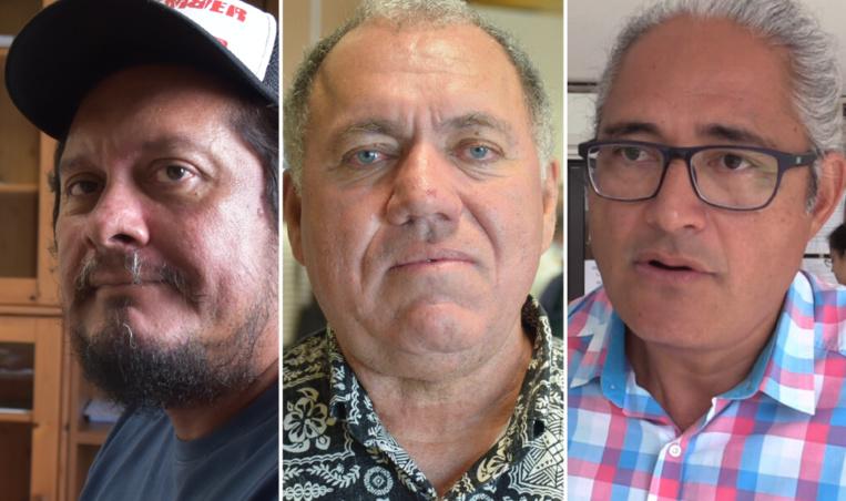 Auguste Uebe-Carlson, président de 193, Yannick Lowgreen, président de l'association Tamarii Moruroa, et Philippe Neuffer, avocat de l'association Moruroa e tatou.