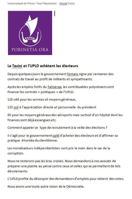 """Communiqué de Teiva Manutahi: """"Le Tavini et l'UPLD achètent les électeurs"""""""