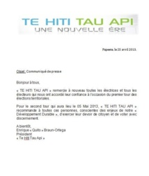 "Communiqué de Te Hiti Tau Api ( QBO): ""second tour"""