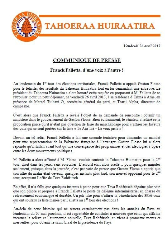 """Communiqué du Tahoeraa: """"Franck Falletta, d'une voix à l'autre ! """""""