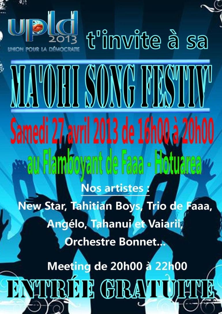 L'UPLD organise un MA'OHI SONG FESTIV