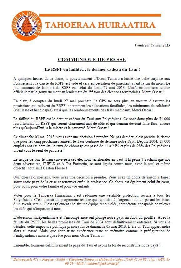 """Communiqué du Tahoeraa: """"Le RSPF en faillite… le dernier cadeau du Taui !  """""""