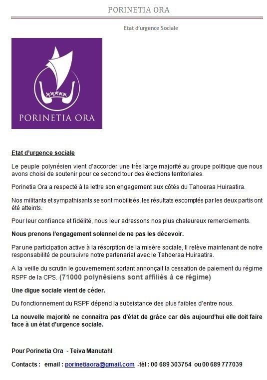 """Communiqué de  Porinetia Ora: Teiva Manutahi: """" Etat d'urgence sociale"""""""