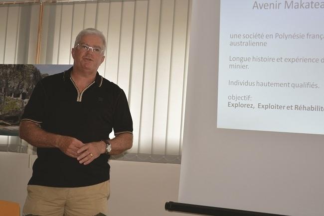 Philip Christensen, directeur de projet de la SAS Avenir Makatea avait présenté le projet d'exploitation secondaire du phosphate de Makatea à la presse en février dernier.