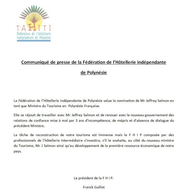 Communiqué de presse de la Fédération de l'Hôtellerie indépendante  de Polynésie