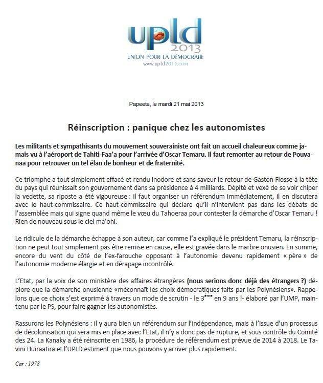 """Communiqué de l'UPLD: """"Réinscription : panique chez les autonomistes"""""""