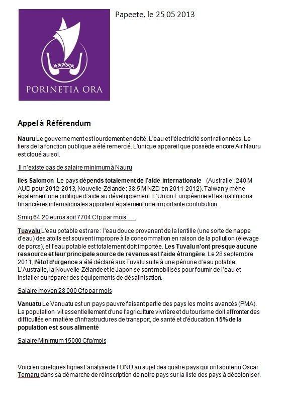 "Communiqué de Porinetia Ora: ""Appel au reférendum"""