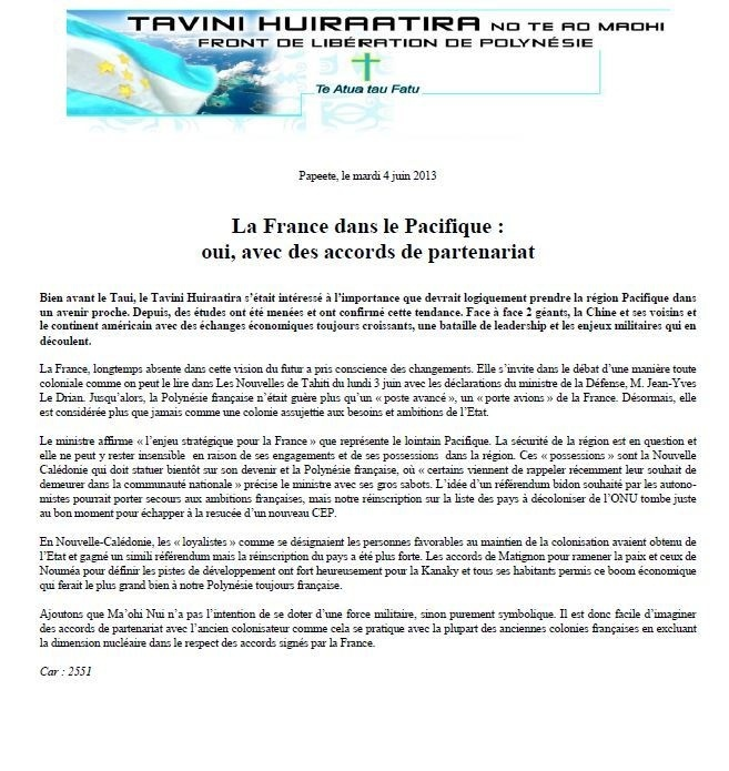 """Communiqué du Tavini: """"La France dans le Pacifique : oui, avec des accords de partenariat"""""""