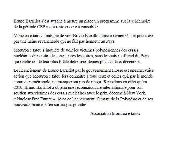 """Communiqué de Moruroa e tatou : """"licenciement de Bruno Barillot"""""""