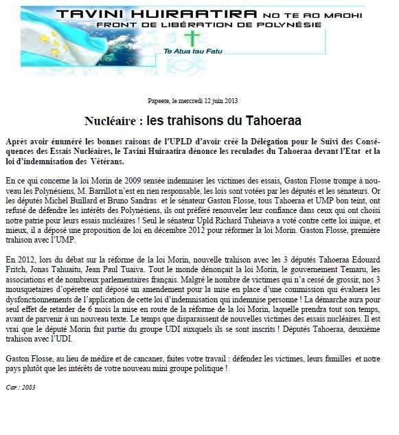 """Communiqué du Tavini: """" Nucléaire : les trahisons du Tahoeraa"""""""