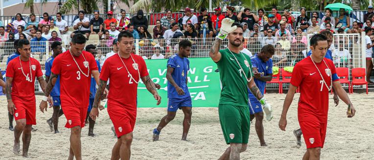 En Russie en août prochain les TIki Toa participeront à leur sixième Coupe du monde de beach soccer. Photo : OFC Media via Phototek