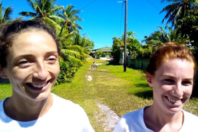 Raphaelle et Charlotte, les deux infirmières de l'ILM en mission à Hao.