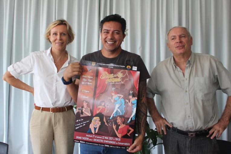 Christine Bennett, professeure de théâtre, Fabien Dinard, directeur du conservatoire et Frédéric Rossoni, maestro.