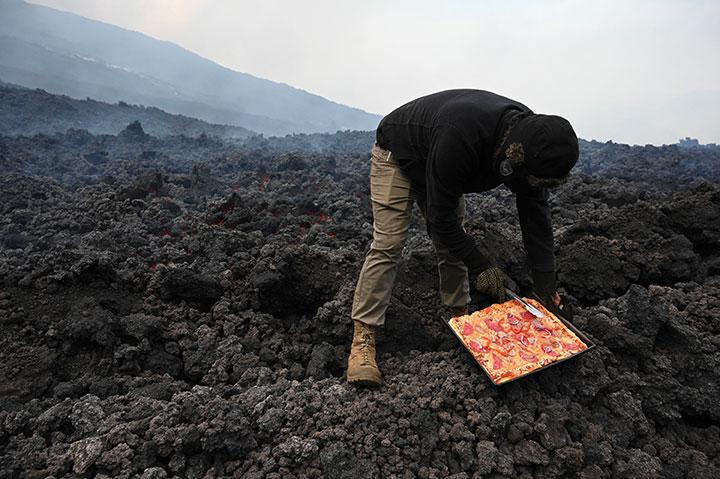 Pizza volcanique au Guatemala