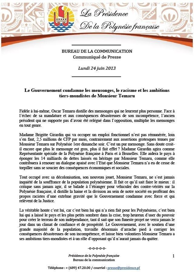 Communiqué du Gouvernement - le Gouvernement s'indigne des propos d'Oscar Temaru