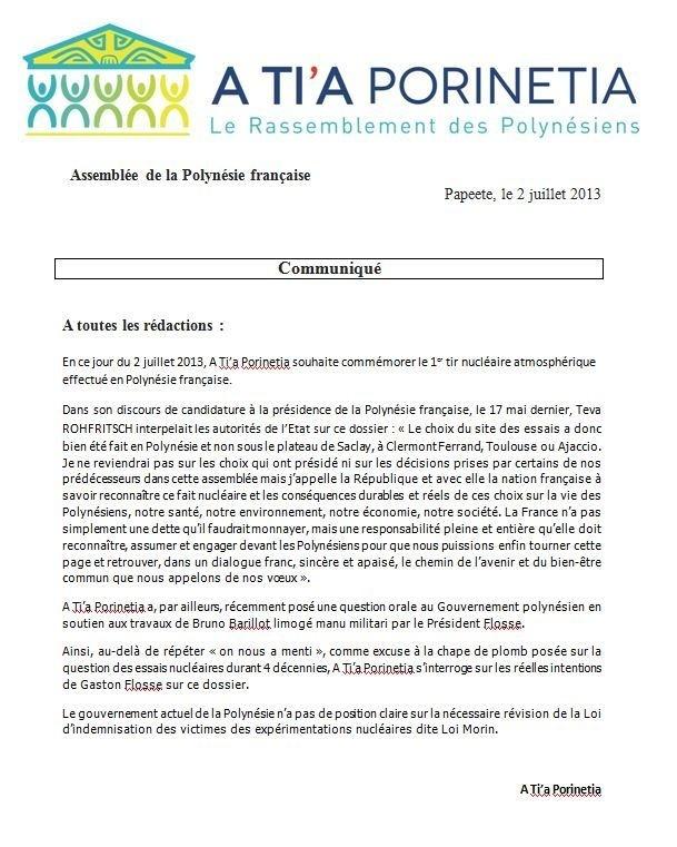 Communiqué du groupe A Ti'a Porinetia relatif à la commémoration du 02 juillet 1966