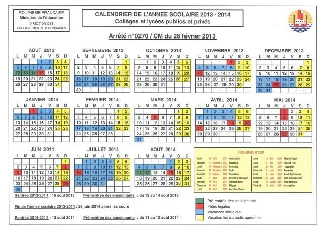 Les calendriers scolaires 2013 / 2014 à télécharger