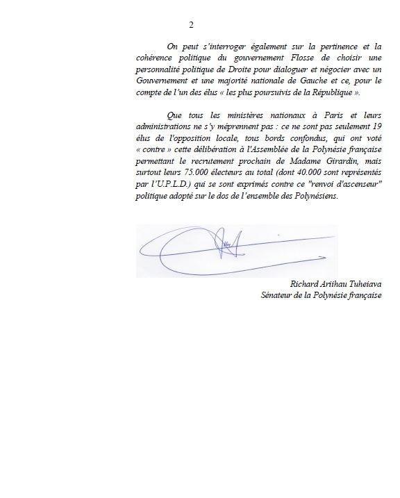 Dans un courrier adressé aux médias, R. Tuheiava s'insurge contre la nomination de Mme B. Girardin