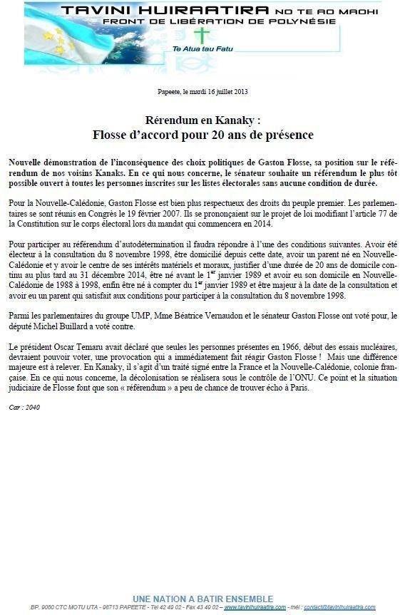 """Communiqué du Tavini: """" Rérendum en Kanaky :  Flosse d'accord pour 20 ans de présence"""""""