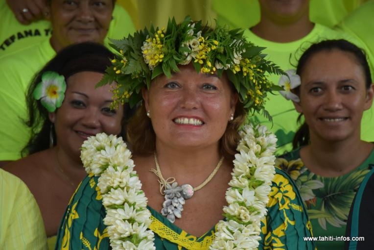 Teura Tarahu en janvier 2020 lors de la campagne des élections municipales à Faa'a.
