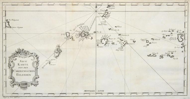 Cette vieille carte allemande de la Micronésie ne permet pratiquement pas d'identifier les îles et atolls, dans la mesure où presque tous les noms ont changé.